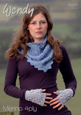 Fingerless Mitts and Lacy Triangular Scarf in Wendy Merino 4 Ply - 5685