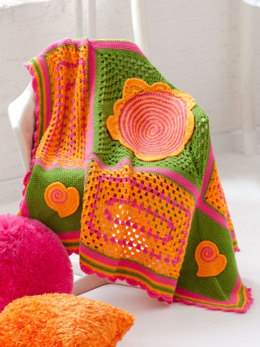 Teen Throw in Caron  Simply Soft Party and Simply Soft Brites - Downloadable PDF
