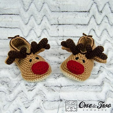 Reindeer Booties For Child Crochet Pattern By One And Two Company