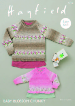 Sweaters with Bell and Rib Edging in Hayfield Baby Blossom Chunky - 4715
