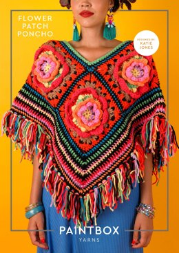 """Flower Patch Poncho"" - Free Poncho Crochet Pattern For Women in Paintbox Yarns Wool Mix Chunky-4"