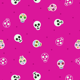 Lewis and Irene Small Things Glow - Sugar Skulls On Bright Pink