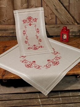 Permin Classic Red Christmas Tablecloth Cross Stitch Kit (80 x 80cm) - Multi