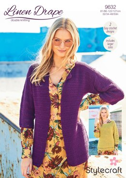 Crochet Jacket and Sweater in Stylecraft Linen Drape - 9632 - Downloadable PDF
