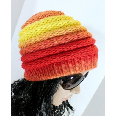 Loom Knit Hat Ombre Beanie