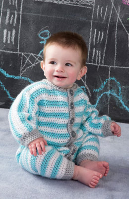 Royal Crochet Onesie in Red Heart Soft Baby Steps Solids - LW4738 - Downloadable PDF