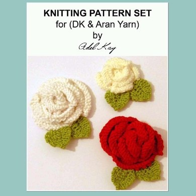 Anna 3 x Rose Flower Brooches Pins Aran DK Yarn Corsages Knitting Pattern by Adel Kay