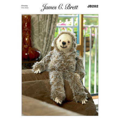 Laid Back Larry Sloth Toy in James C. Brett Faux Fur - JB282