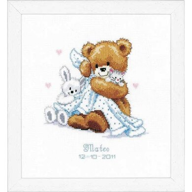 Vervaco Teddy and Blanket Birth Sampler Cross Stitch Kit - 20 x 22cm