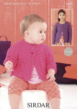 Crochet Coat & Round-Neck Cardigan in Sirdar Snuggly 4 Ply - 4476