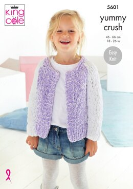 Cardigans in King Cole Yummy Crush - 5601 - Downloadable PDF