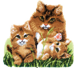 Vervaco Cat Family Shaped Latch Hook Rug Kit - Multi