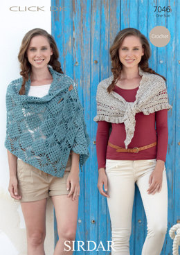 Diamond Pattern Wrap and Triangular Shawl With Frill in Sirdar Click DK - 7046