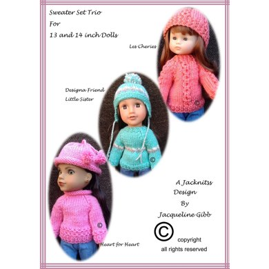 LC08 Sweater Trio for 13 and 14 inch Dolls