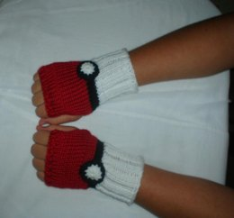 Pokeball Fingerless Gloves