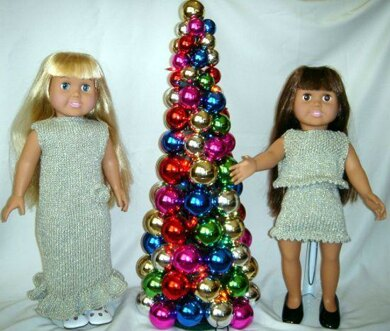 Sparkling Evening Gown Ensemble, Knitting Patterns fit American Girl and other 18-Inch Dolls