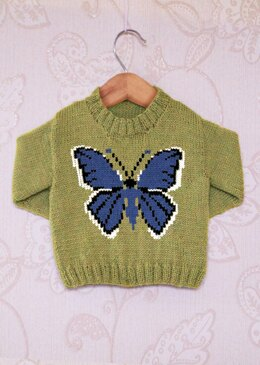 Intarsia - Holy Blue Butterfly Chart - Childrens Sweater