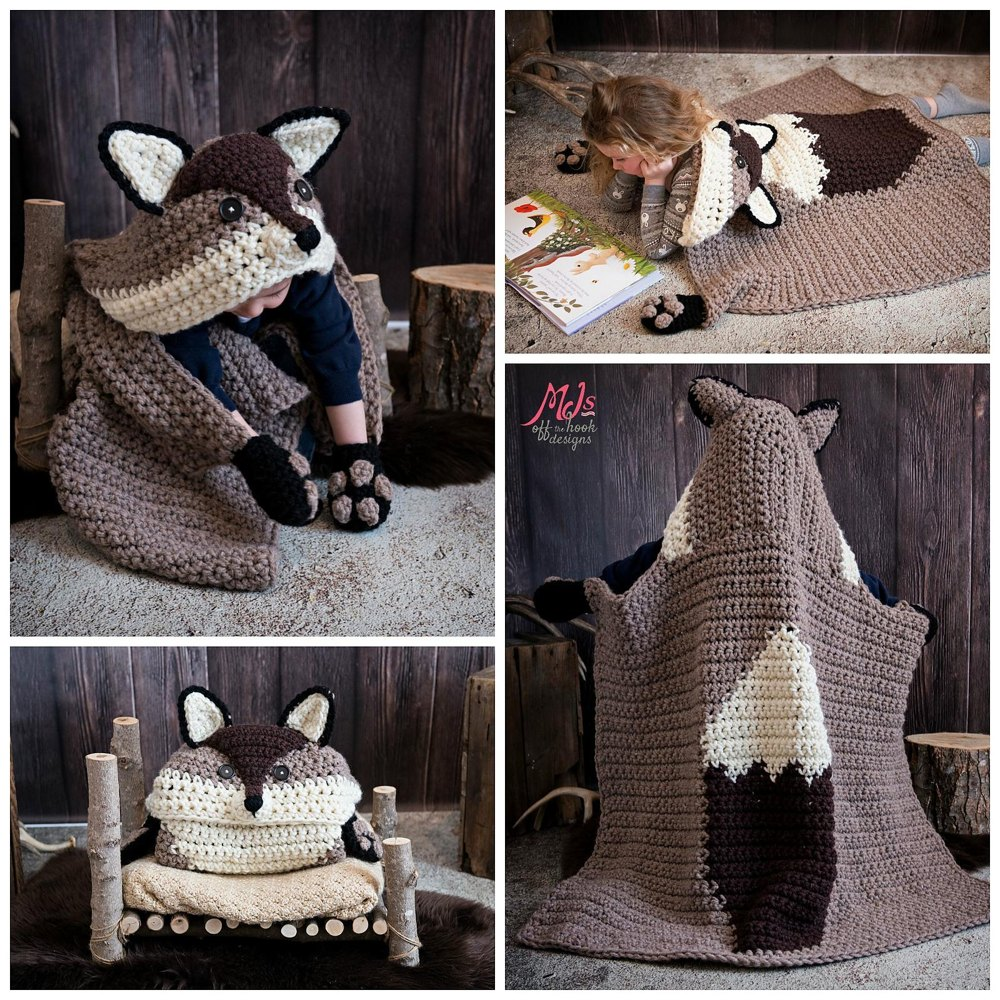Hooded Woodland Fox Blanket Crochet Pattern By Mjsoffthehook