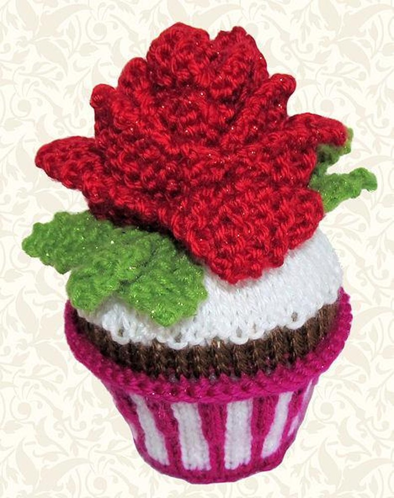 Rose In The Snow Cupcake Knitting Pattern By Craft Designs For You
