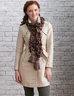 Tawny Tassel Arm Knit Scarf in Patons Classic Wool Worsted