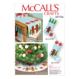 McCall's Stockings, Runner, and Tree Skirt Holiday Decorations M7704 - Sewing Pattern
