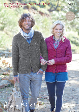 V Neck and Shawl Collared Cardigans in Hayfield Chunky Tweed - 7490