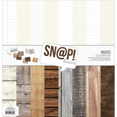 """Simple Stories Double-Sided Paper Pack 12""""X12"""" 8/Pkg - Sn@p! Wood & Notebook Basics, 8 Des/1 Ea"""