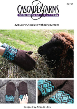 Chocolate with Icing Mittens in Cascade 220 Sport - DK219