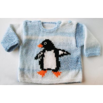 Baby Sweater with Penguin Motif