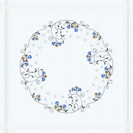 Permin Blue & Cream Flowers Embroidery Tablecloth Kit - Multi