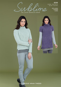 Sweater and Sweater Dress in Sublime Luxurious Aran Tweed - 6106 - Downloadable PDF