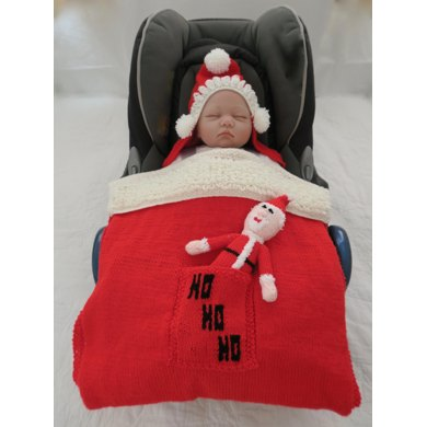 Santa Hooded Baby Car Seat Blanket Toy Knitting Pattern By