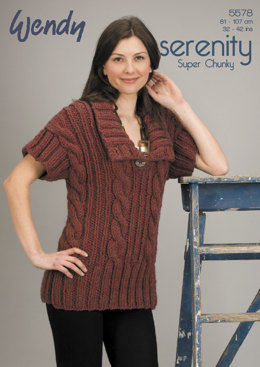 Cabled Tunic in Wendy Serenity Super Chunky - 5578