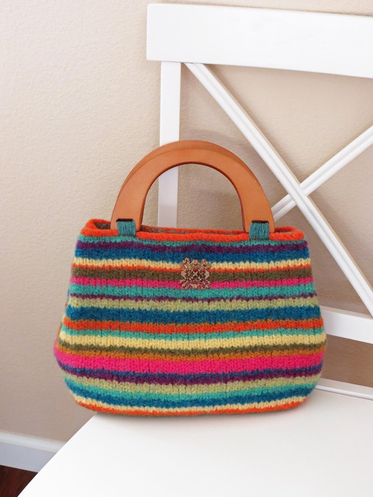 Knitting Bag Pattern Pinterest : Knit and Felted Purse - Iris Bag Knitting pattern by Deborah OLeary