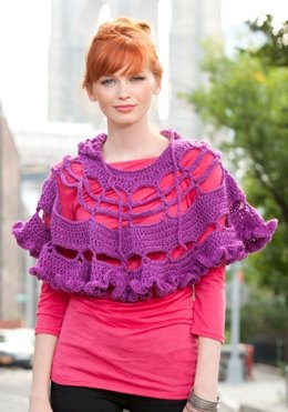 Petticoat Poncho in Red Heart Super Tweed - LW2851