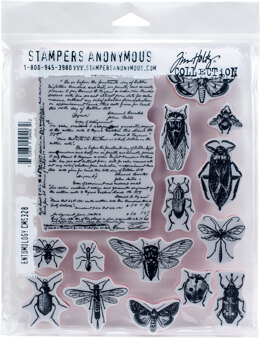"Stampers Anonymous Tim Holtz Cling Stamps 7""X8.5"" - Entomology"