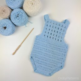 Crochet Baby Romper Blue Orchid