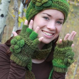 Floral Half-Finger Fingerless Gloves