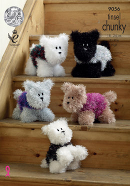 Westie Style Dogs Toy in King Cole Tinsel Chunky & Dollymix DK - 9056