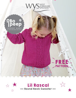 Lil Rascal Round Neck Sweater in West Yorkshire Spinners Bo Peep Luxury Baby