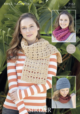 Crochet Hat, Crochet Scarf & Snood in Sirdar Big Softie - 7161