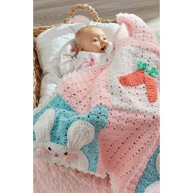 Luv My Bunny Blanket in Red Heart Baby Hugs Medium - LW5496 - Downloadable PDF