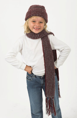 Side to Side Hat and Scarf in Plymouth Encore Worsted - F216