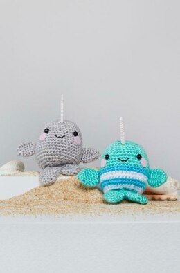 Ned & Norman Crochet Narwhal in Red Heart Amigurumi - LM6287 - Downloadable PDF