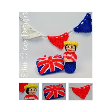 A Miniature Queen Doll, Bunting & Union Jack Pin Cushion Knitting Pattern