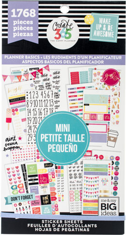 Me & My Big Ideas Happy Planner Sticker Value Pack - Planner Basics - Mini, 1768/Pkg