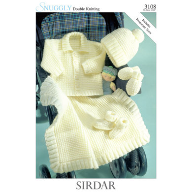 Jacket, Hat, Mittens, Bootees and Blanket in Sirdar Snuggly DK - 3108 - Downloadable PDF