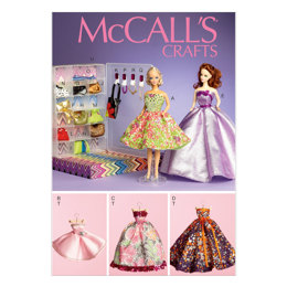 "McCall's Formal Dresses, Accessories, Closet and Hangers for 11½"" Doll M6903 - Sewing Pattern"