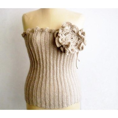 Crochet Bustier with Large Flower