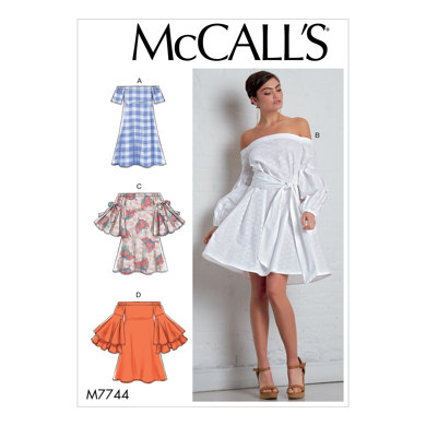 McCall's Misses' Dresses and Belt M7744 - Sewing Pattern